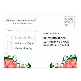 Cartão elegante floral da resposta do hibiscus cartão postal