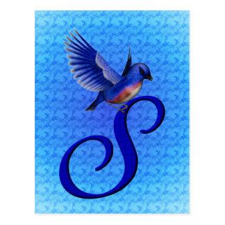 Cartão elegante inicial do Bluebird do monograma S