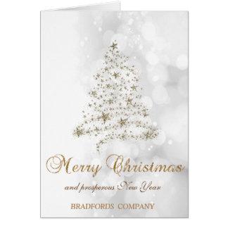 Cartão Elegante, Natal Árvore, Bokeh Empresa