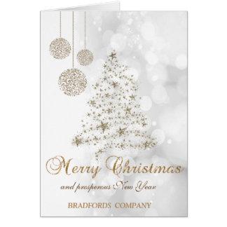 Cartão Elegante, Natal Árvore, Bolas, Bokeh Empresa