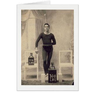 Cartão Elevador de peso do vintage