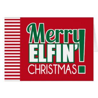 Cartão Elfin alegre do Natal