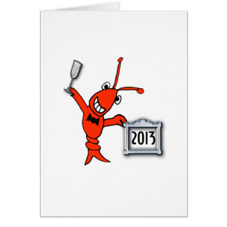 Cartão Elogios do ano novo dos lagostins/lagosta