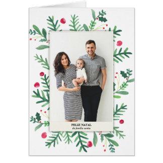 Cartão Em Aquarela | Feliz de Pintura natal