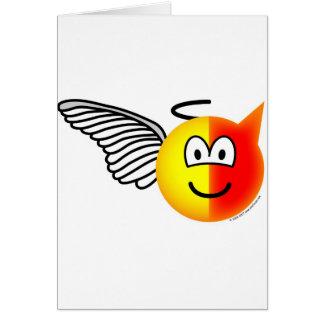 Cartão Emoticon do anjo ou do diabo