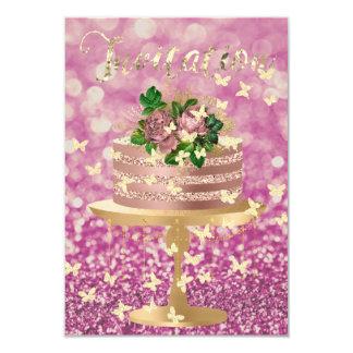 Cartão Encanto da peônia do ouro do rosa do rosa do
