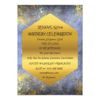 Cartão Encanto sujo do ouro azul da festa de aniversário