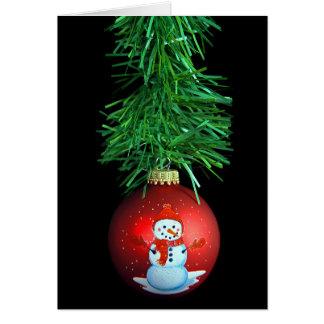 Cartão enfeites de natal do boneco de neve com festão