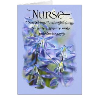 Cartão Enfermeira/dia feliz das enfermeiras - flores de