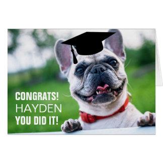 Cartão engraçado da graduação da foto do cão do