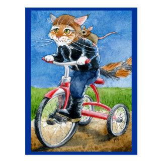 Cartão engraçado do triciclo da equitação do gato