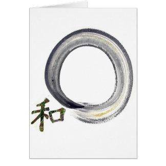 Cartão Enso de prata com Kanji - harmonia