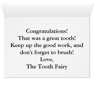 Cartão Envie uma nota especial da fada de dente!