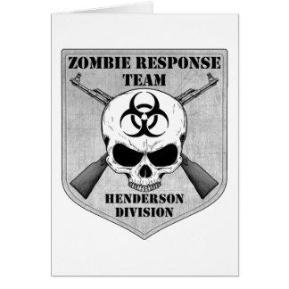 Cartão Equipe da resposta do zombi: Divisão de Henderson