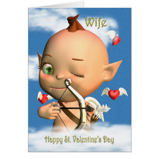 Cartão Esposa feliz do Cupido do dia dos namorados do St.
