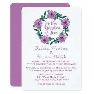 Cartão Estrados roxos da flor da margarida da lavanda do