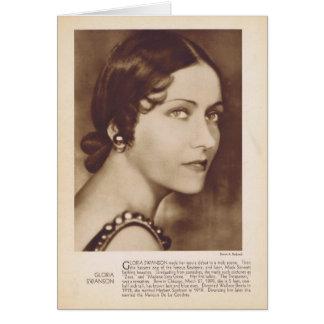 Cartão Estrela de cinema silenciosa do retrato do vintage