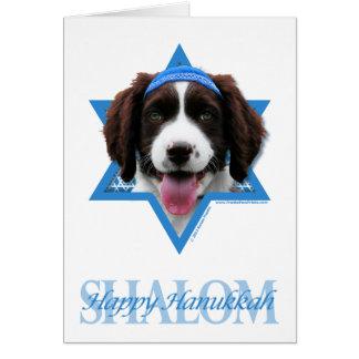 Cartão Estrela de David de Hanukkah - Spaniel de Springer