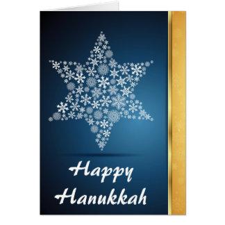 Cartão Estrela de Hanukkah, design do floco de neve