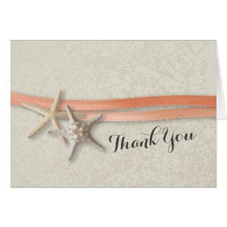 Cartão Estrela do mar e obrigado coral da fita você