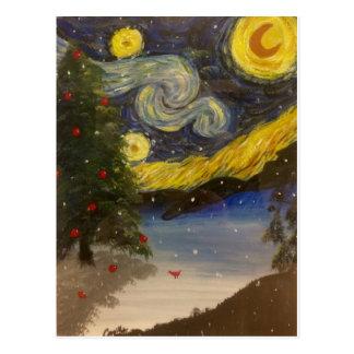 Cartão estrelado da noite de Natal