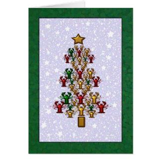 Cartão Estrelas da árvore de Natal da lagosta dos