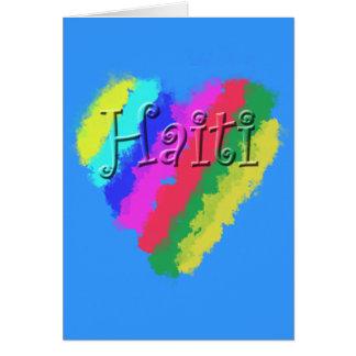 Cartão Eu amo Haiti, coração Pastel do giz das crianças