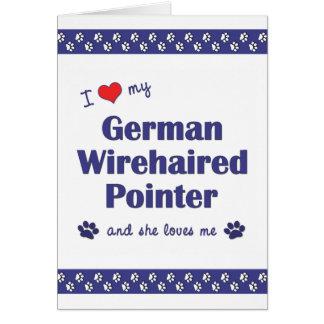 Cartão Eu amo meu ponteiro Wirehaired alemão (o cão