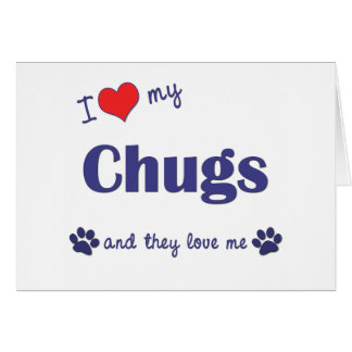 Cartão Eu amo meus Chugs (os cães múltiplos)
