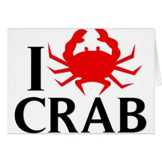 Cartão Eu amo o caranguejo