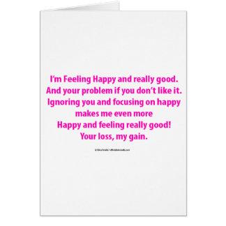 Cartão Eu estou sentindo indiferente feliz e bom