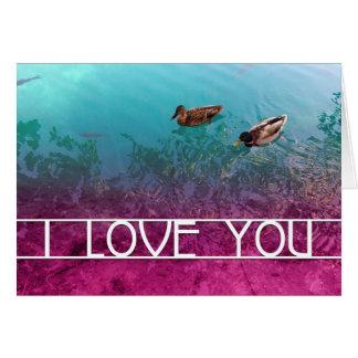 Cartão eu te amo: pares de patos