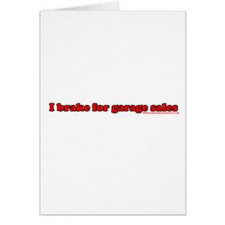 Cartão Eu travo para vendas de garagem
