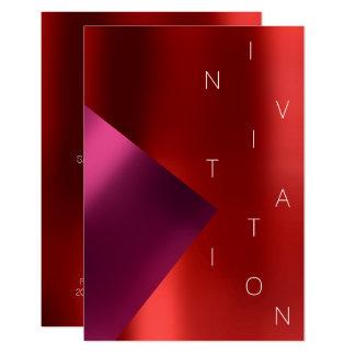 Cartão Evento Rubin rosa vermelha metálico da forma do