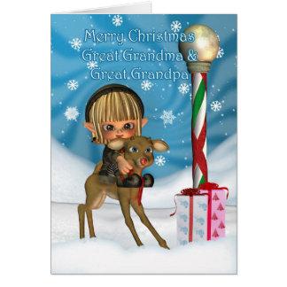 Cartão Excelente do Natal - rena do duende das avós,
