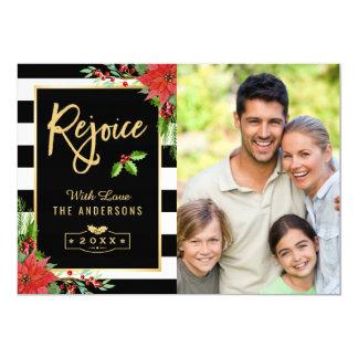 Cartão Exulte a foto floral da poinsétia do Feliz Natal