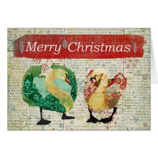 Cartão Eyed estrelado do Feliz Natal do vintage da