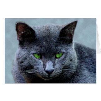 Cartão Eyed verde do gato
