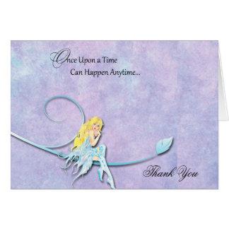Cartão Fada azul no obrigado roxo do casamento da