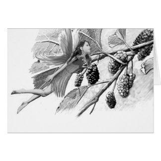 Cartão Fada da árvore de Mulberry vermelho