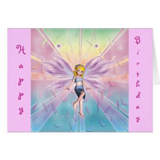 Cartão Fada loura do feliz aniversario para as meninas