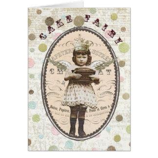 Cartão Fada-notecard do Vintage-Bolo