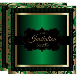 Cartão Falso modelo metálico do ouro & do Partido Verde