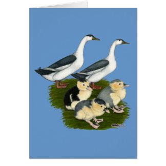 Cartão Família azul do pato do Magpie