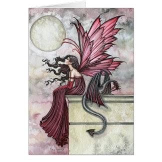 Cartão feericamente vermelho do dragão por Molly H