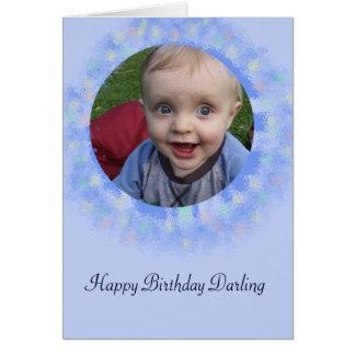 Cartão feito sob encomenda azul da foto do feliz cartão comemorativo