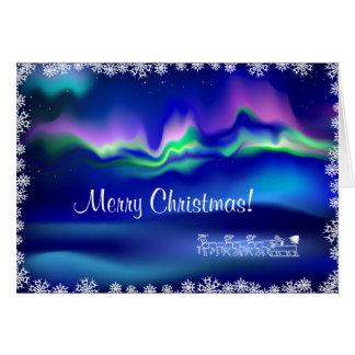 Cartão Felicitation do Natal da aurora boreal