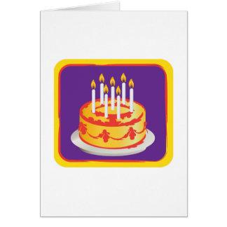 Cartão Feliz aniversario! Bolo de aniversário amarelo da