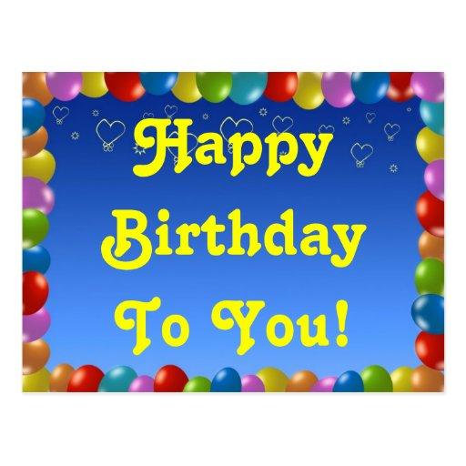 Cartão feliz aniversário! cartao postal