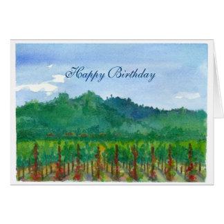 Cartão Feliz aniversario da aguarela do vinhedo de Napa
